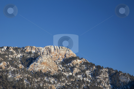Horsetooth Rock in winter scenery stock photo, Horsetooth Rock, a landmark of Fort Collins, Colorado,  winter scenery, view from west by Marek Uliasz