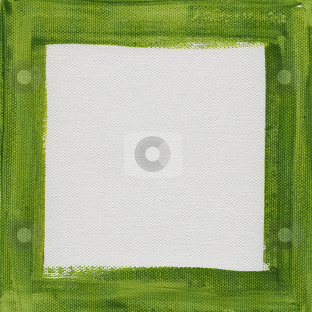 Green frame on white canvas stock photo, Hand painted  green watercolor frame (border) surrounding white blank square on artist canvas by Marek Uliasz