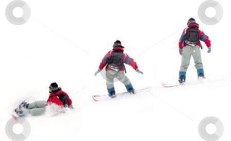 Girl snowboarder stock photo, Girl snowboarder, falling on the snow by Nikola Spasenoski