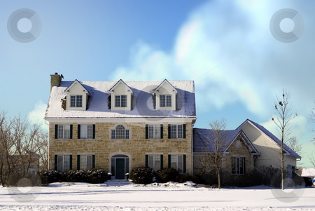 Country Manor stock photo, A large three story house made of stones taken during the winter. by Richard Nelson