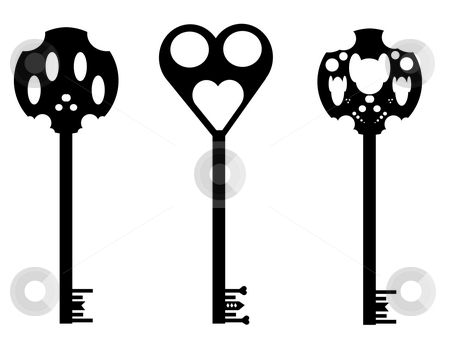 Keys stock photo, Illustration of three different silhouettes of keys, isolated against a white background. by Richard Nelson