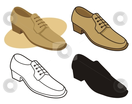 Male shoe 1 stock vector clipart, Vector illustration of male shoe in four versions by fractal.gr