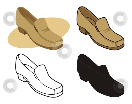 Male shoe 2 stock vector clipart, Vector illustration of male shoe in four versions by fractal.gr