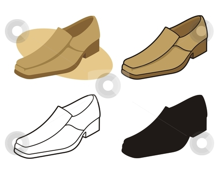 Male shoe 3 stock vector clipart, Vector illustration of male shoe in four versions by fractal.gr