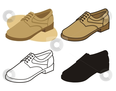Male shoe 4 stock vector clipart, Vector illustration of male shoe in four versions by fractal.gr