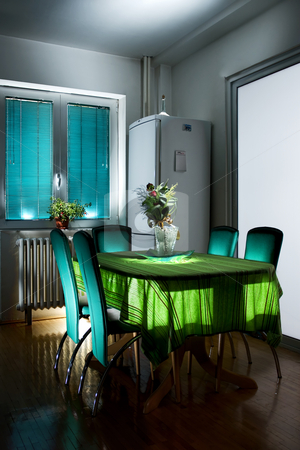 Kitchen table stock photo, Interior - kitchen table, hdr photo with multiple light sources by Nikola Spasenoski