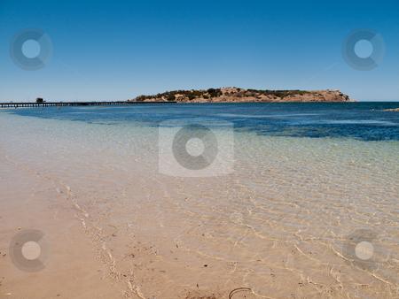 Beach at Granite Island near Victor Harbor stock photo, Broad beach and sea scene at Granite Island near Victor Harbor near Adelaide in Australia by Steven Heap