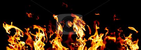 Flames stock photo, Flames and fire burning on black background by Nikola Spasenoski