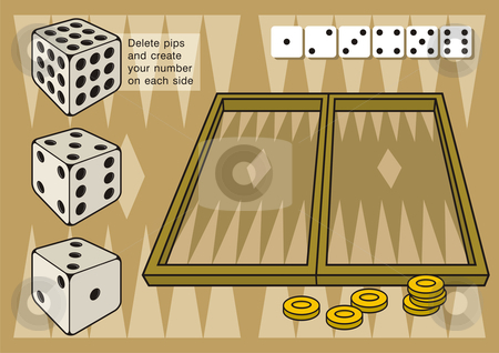 Backgammon with dices stock vector clipart, A game of backgammon. Create your own numbers on dice by deleting pips on each side by fractal.gr