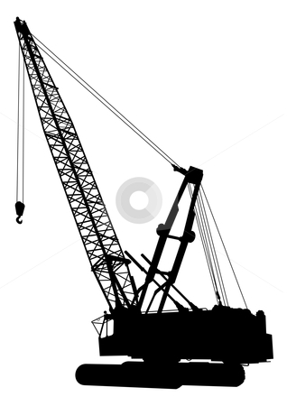 Construction crane 1 stock vector clipart, Silhouette of construction crane by fractal.gr