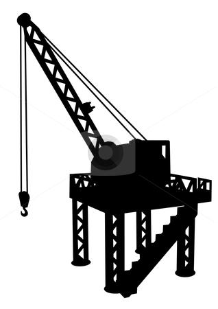 Construction platform stock vector clipart, Silhouette of construction platform with crane by fractal.gr