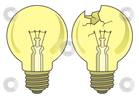 Lamp stock vector clipart, Light bulb in two versions. by fractal.gr