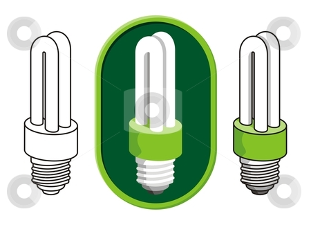 Fluorescent light bulb stock vector clipart, Illustration of a compact fluorescent light bulb icon in three versions. by fractal.gr
