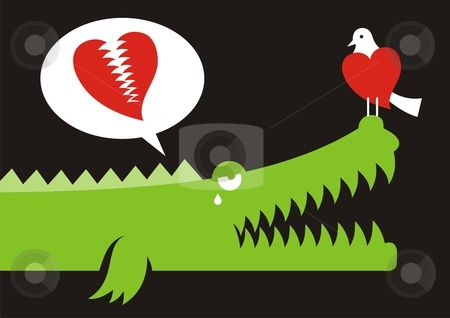 Alligator in love stock vector clipart, Alligator expressing his love for bird with crocodile tears by fractal.gr