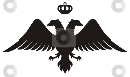 Double headed eagle silhouette with crown stock vector clipart, Double headed eagle silhouette with crown, symbol of byzantine kings by fractal.gr