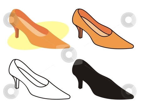 Female shoe 1 stock vector clipart, Vector illustration of female shoe in four versions. by fractal.gr