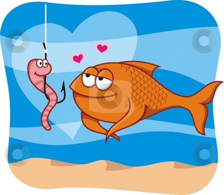 Fish and bait in love stock vector clipart, Cartoon illustration of fish in love with the worm bait in hook by fractal.gr