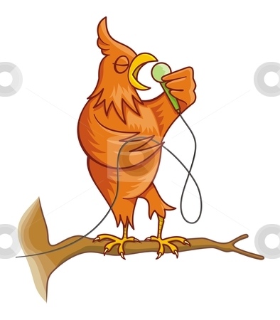Orange singing canary bird stock vector clipart, Cartoon illustration of an orange canary bird on a tree branch singing. by fractal.gr
