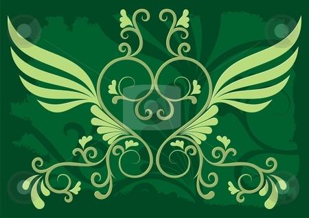 Deco 01 stock vector clipart, Decorative illustration on grunge dark green background by fractal.gr