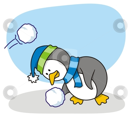 Little penguin 2 stock vector clipart, Vector cartoon of little penguin with snow by fractal.gr