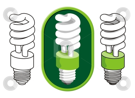 Spiral compact fluorescent light bulb stock vector clipart, Illustration of a spiral compact fluorescent light bulb. by fractal.gr
