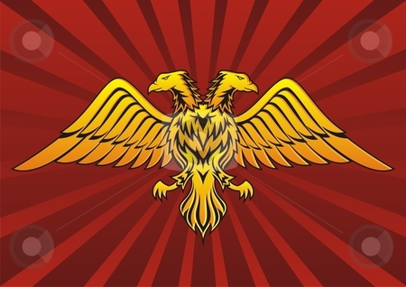 Two headed eagle stock vector clipart, Double headed eagle in dark red background by fractal.gr