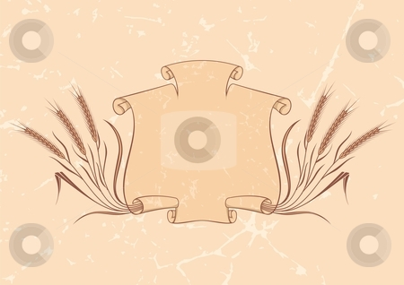 Banner with wheat beige stock vector clipart, Scroll banner and wheat on beige background by fractal.gr
