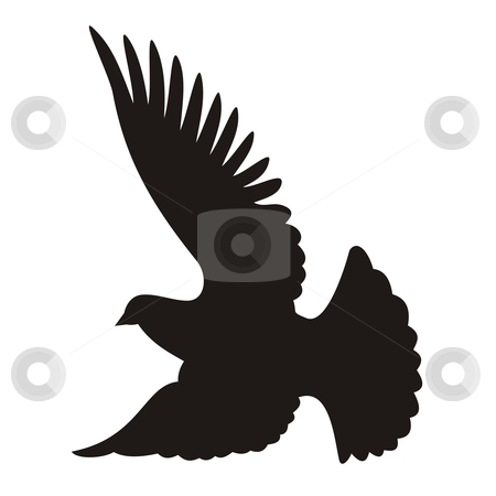 Dove silhouette stock vector clipart, Flying dove silhouette on white background by fractal.gr