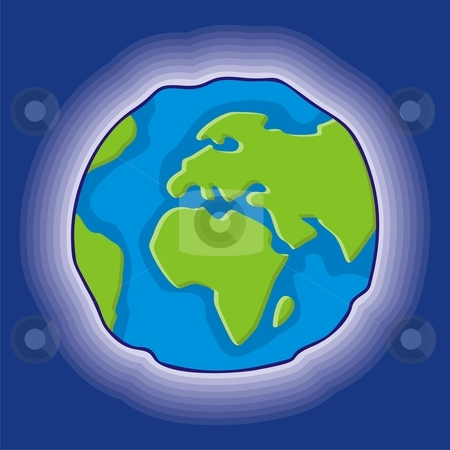 Earth globe icon stock vector clipart, Simple earth globe icon, cartoon style by fractal.gr