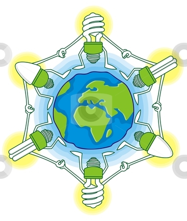 Globe with cfl bulbs stock vector clipart, Earth globe cartoon with compact fluorescent light bulbs by fractal.gr