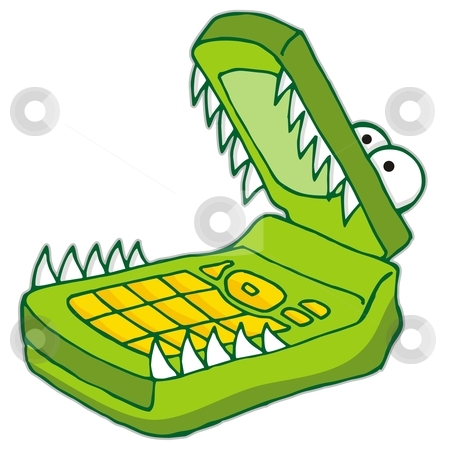 Hungry cellphone stock vector clipart, Cartoon illustration of green hungry cellphone by fractal.gr
