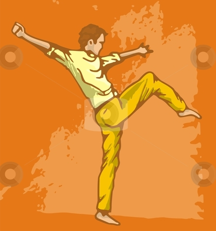 Modern dancer stock vector clipart, Young man warming up. Vectorized marker sketch. by fractal.gr