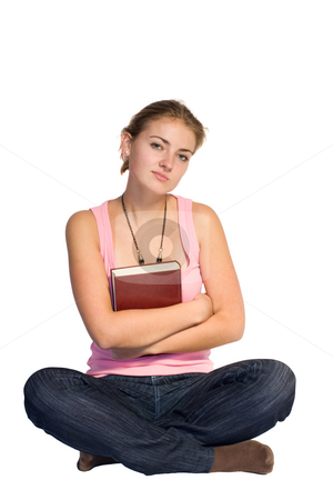Girl with book stock photo,  by Bo Valentino