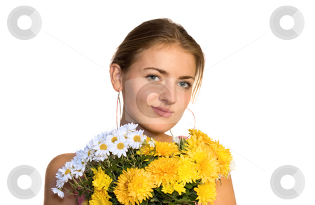 Girl with bouquet stock photo,  by Bo Valentino