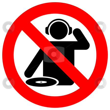 No dj zone stock vector clipart, No dj zone warning sign for live music clubs by fractal.gr