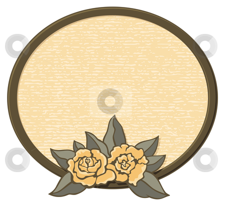 Oval frame with roses stock vector clipart, Decorative oval frame with roses in sepia tones. by fractal.gr