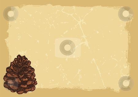 Paper with pinecone horizontal stock vector clipart, Pinecone sketch on grunge old beige paper background by fractal.gr