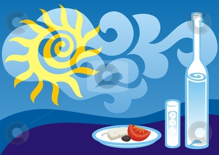 Greek summer stock vector clipart, Greek summer background illustration with ouzo bottle and glass by fractal.gr