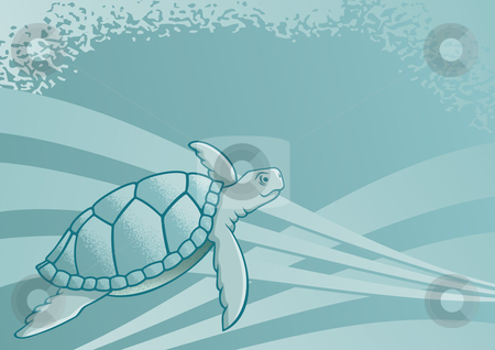 Sea turtle stock vector clipart, Sea turtle background for page layout or presentations by fractal.gr
