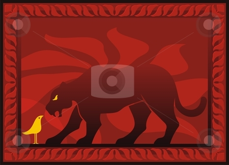 Bird and panther stock vector clipart, Bird and panther silhouettes on dark red decorative background by fractal.gr