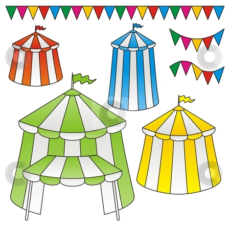 Circus tents stock vector clipart, Variation of circus tents with festive triangle flags by fractal.gr