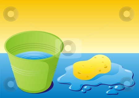 Cleaning equipment stock vector clipart, Green bucket with water and sponge with water splash by fractal.gr