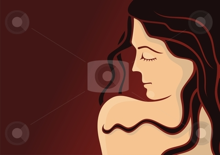 Cosmetics girl template 3 stock vector clipart, Young woman head with long hair on dark red background by fractal.gr