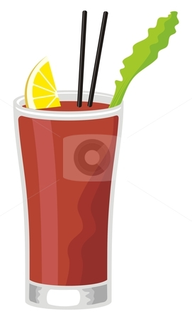 Bloody Mary stock vector clipart, Bloody Mary cocktail in highball glass with celery and slice of lemon by fractal.gr