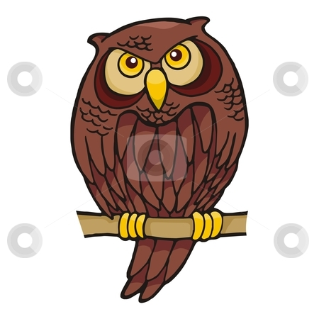 Owl cartoon stock vector clipart, Owl cartoon sitting on a branch looking at you by fractal.gr