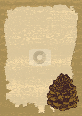 Paper with pinecone vertical stock vector clipart, Old paper template to pass your message by fractal.gr