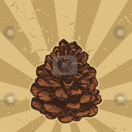 Pinecone on grunge stock vector clipart, Pinecone sketch icon on grunge beige background by fractal.gr