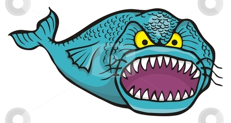 Big angry fish stock vector clipart, Cartoon of big angry fish isolated on white by fractal.gr