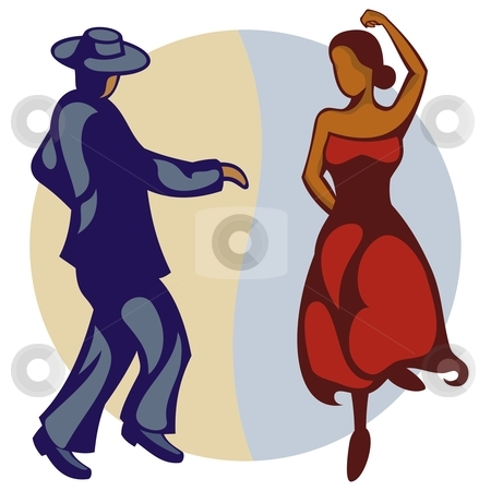 Flamenco Dancers stock vector clipart, Illustration of a couple of flamenco dancers by fractal.gr
