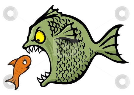 Bully fish stock vector clipart, Angry fish bullying a little one cartoon illustration by fractal.gr
